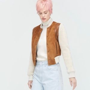 UGG AUSTRALIA Shearling and Suede Bomber Jacket